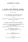 Commentaries on the Laws of England : in Four Books