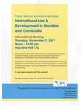 International Law & Development in Namibia and Cambodia