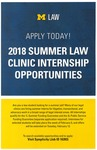 2018 Summer Law Clinic Internship Opportunities